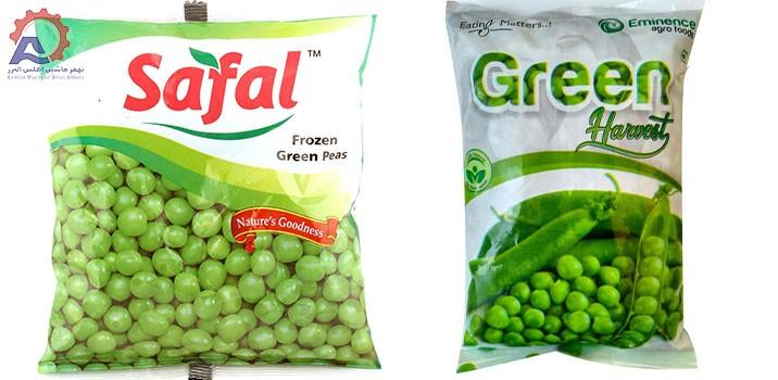 نخود فرنگی بسته بندی شده در دستگاه بسته بندی نخود فرنگی سبز